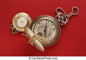 bolsillo, relojes, dos, cadena