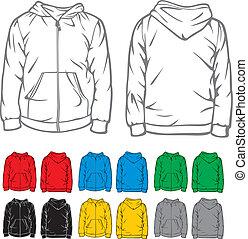 bolsillo, sweatshirt, hombres, encapuchado