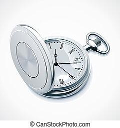 bolsillo, vector, reloj
