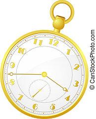 bolsillo, vector, reloj, ilustración, oro