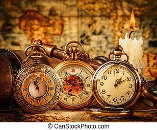 bolsillo, vendimia, reloj
