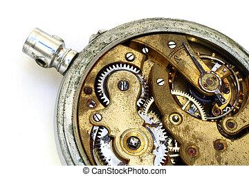 bolsillo, viejo, oxidado, reloj, engranaje