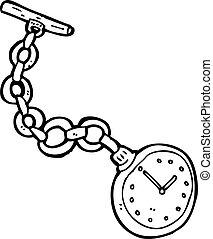 bolsillo, viejo, reloj, caricatura