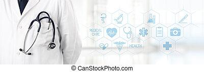 bolso, ícones, doutor médico, símbolos, estetoscópio, fundo