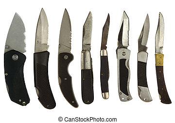 bolso, branca, facas, isolado