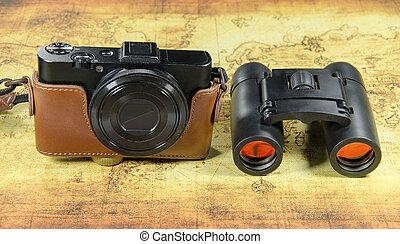 bolso, câmera vintage, antigas, binoc