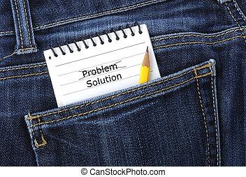 bolso, caderno, calças brim