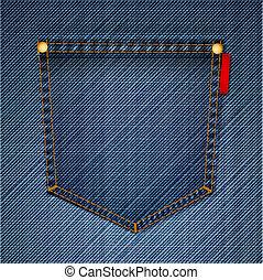 bolso, de, azul, jeans., vetorial