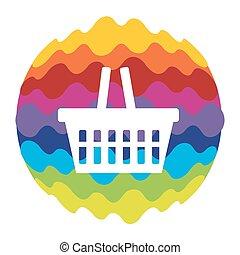 bolso de compras, arco irirs, color, icono, para, móvil, aplicaciones, y, tela