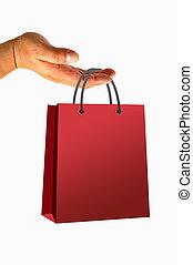 bolso de compras, en, mano