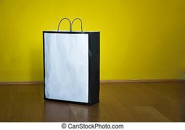 bolso de compras, espacio de copia, piso de madera