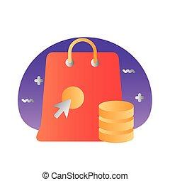 bolso de compras, estilo, flecha, ratón, coins, degraded