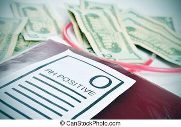 bolso de la sangre, y, dólar de los e.e.u.u, cuentas