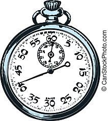 bolso, experiência., branca, relógio