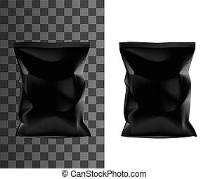 bolso, sachet, realístico, pretas, pacote, produto