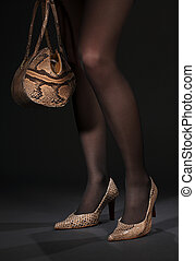 bolso, snakeskin, piernas, shoes, largo