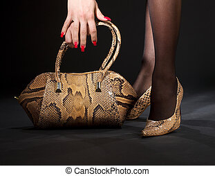 bolso, snakeskin, shoes