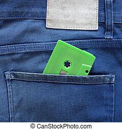 bolso, verde, fita cassete