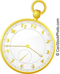 bolso, vetorial, relógio, ilustração, ouro
