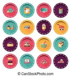 bolt, állhatatos, bevásárlás online, ikonok