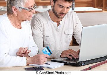 bolt, ételadag, család, öregedő, tag, on-line, ember