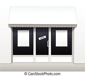 bolt, étterem, vektor, külső, elülső, kávéház
