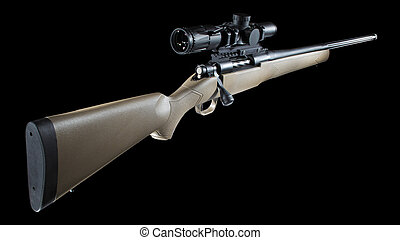 Bolt action hunting rifle with a scope mounted
