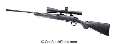 Bolt action rifle with a high powered scope