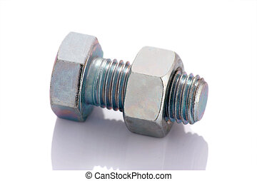 Bolt and nut isolated