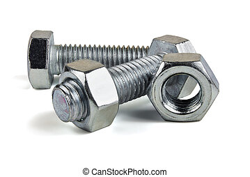 Bolt and Nut - Two of metal screws and nuts isolated on ...