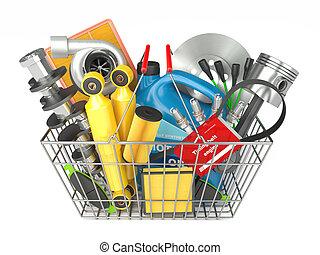 bolt, autó, alkatrészek, önmagától mozgó, kosár, store.