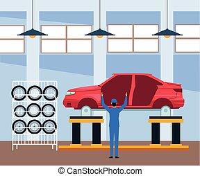 bolt, autó, dolgozó, álló, táj, test, rendbehozás, szerelő