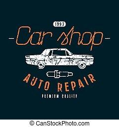 bolt, autó, embléma, rendbehozás