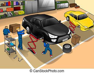 bolt, autó, rendbehozás