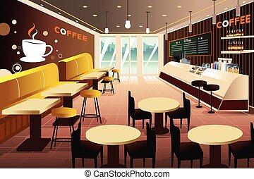 bolt, belső, kávécserje, modern