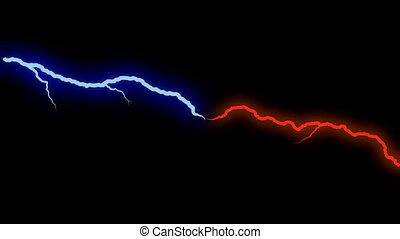 two bolts of lightning in blue and red rotating on screen