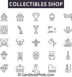 bolt, collectibles, áttekintés, állhatatos, ikonok, illustration:, vector., cégtábla, egyenes, bolt, fogalom
