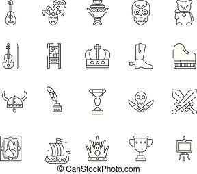 bolt, collectibles, fogalom, áttekintés, állhatatos, ikonok, ábra, vektor, egyenes, cégtábla