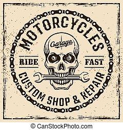 bolt, embléma, motorbiciklik, koponya, szüret, szokás