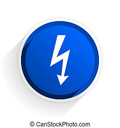 bolt flat icon with shadow on white background, blue modern design web element