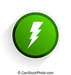 bolt flat icon with shadow on white background, green modern design web element