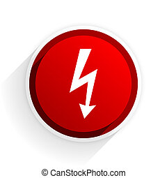 bolt flat icon with shadow on white background, red modern design web element