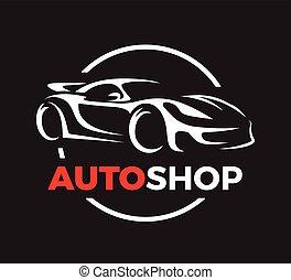 bolt, fogalom, szuper, autó, sport, tervezés, jármű, logo., autó