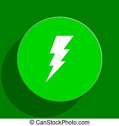 bolt green flat icon