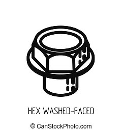 bolt head hex full bearing outline icon and education illustration