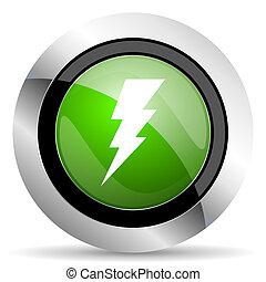 bolt icon, green button, flash sign
