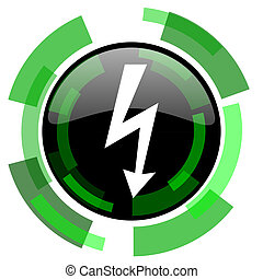 bolt icon, green modern design isolated button, web and mobile app design illustration