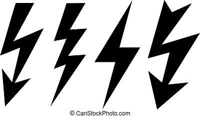 Bolt icon, lightning vector sign
