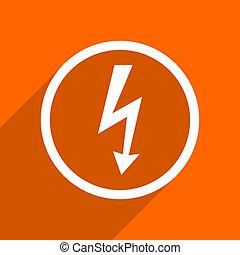 bolt icon. Orange flat button. Web and mobile app design illustration