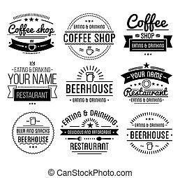bolt, kávécserje, étterem, szüret, label., logo., template.